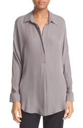 Vince Women's Shirred Back Yoke Silk Tunic Shirt Shark