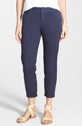Petite Women's Caslon Chino Crop Pants Navy Peacoat