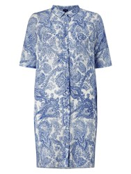 Phase Eight Ines Paisley Linen Shirt Blue