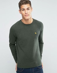 Abercrombie And Fitch Crew Jumper Pop Icon Fine Knit In Green Green