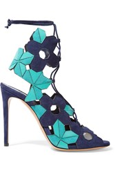 Casadei Laser Cut Suede And Leather Sandals Blue