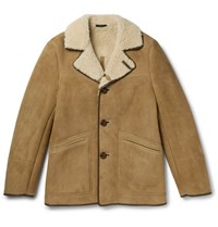 Tom Ford Leather Trimmed Shearling Coat Tan