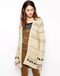 Sessun Salt River Chunky Long Cardigan Fleurdeselbeige