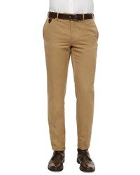 Berluti Linen Cotton Blend Flat Front Trousers Brown