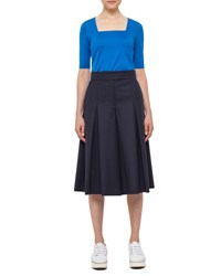 Akris Punto Pleated Wool Pant Skirt Deep Blue Dpblue