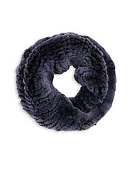 Saks Fifth Avenue Fur Infinity Scarf Blueberry