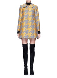 Alice Olivia 'Kinsley' Houndstooth Satin Patchwork Coat Multi Colour