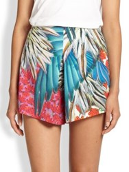Clover Canyon Feather And Floral Printed Shorts Multi