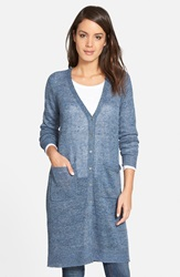 Eileen Fisher Organic Linen Long Cardigan Denim