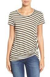 Women's Gibson Twist Front Stripe Tee Heather Olive White
