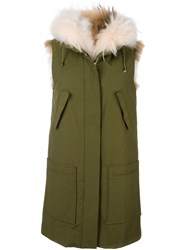 Army Yves Salomon Sleeveless Parka Green