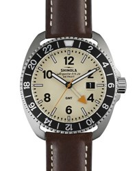 Shinola 44Mm Rambler Tachymeter Watch W Leather Strap Brown