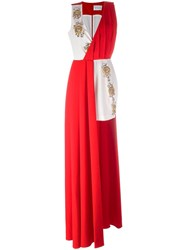 Stefano De Lellis Embellished Two Tone Gown Red