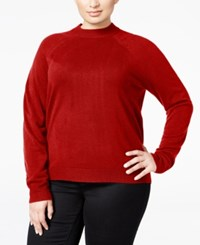Karen Scott Plus Size Cashmelon Luxsoft Mockneck Sweater Only At Macy's Red Cherry