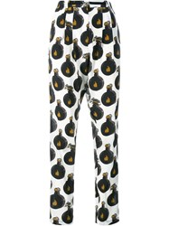 Lanvin Arpege Print Silk Trousers Black