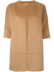 Michael Kors Three Quarter Sleeve Coat Nude And Neutrals