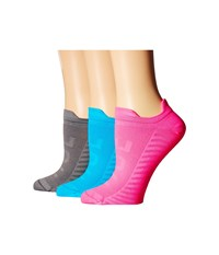 Hue Air Sleek Front Back Tab 3 Pack Neon Pink Pack Women's No Show Socks Shoes Multi