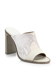 Rag And Bone Tristan Suede And Snake Embossed Leather Mule Sandals White