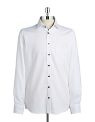 Pure Contrast Trim Cotton Sportshirt White