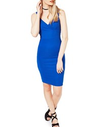Miss Selfridge Textured Bodycon Dress Blue