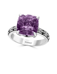 Effy Amethyst And 0.925 Sterling Silver Cutout Shank Ring Purple
