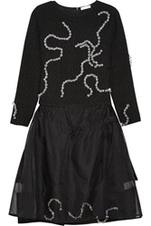 Michael Van Der Ham Crystal Embellished Boucle And Silk Organza Dress Black