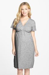 Women's Japanese Weekend Surplice Maternity Nursing Nightgown Heather Grey