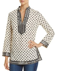 Tory Burch Sequin Embellished Printed Tunic New Ivory