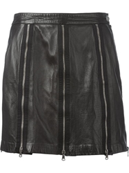 Moschino Vintage Leather Zip Skirt Black