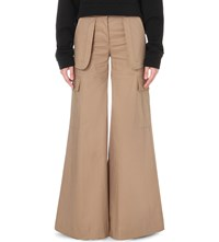 Off White C O Virgil Abloh Cargo Flared Cotton Blend Trousers Camel