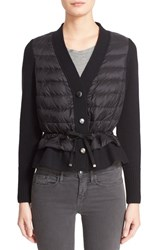 Women's Moncler Quilted Down Front Wool Cardigan