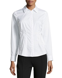Laundry By Shelli Segal Poplin Hook And Eye Blouse Optic White
