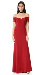 Badgley Mischka Collection Off Shoulder Short Sleeve Gown Venetian Red