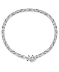 Macy's Diamond Horseshoe Clasp Mesh Necklace 1 3 Ct. T.W. In Sterling Silver