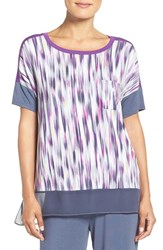 Dkny Women's Stretch Modal Lounge Tee Anchor Painted Abstract Stripe