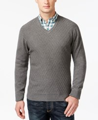 Club Room Big And Tall Diamond Knit Pattern V Neck Sweater Only At Macy's Charcoal Heather