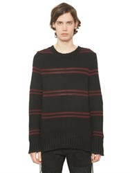 Amiri Lace Up Sides Striped Cashmere Sweater