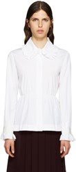 Fendi White Ruffled Peplum Blouse