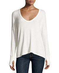 Lna Relaxed U Neck Ribbed Sweater Ivory