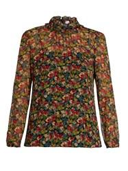 Red Valentino Ruffle Neck Silk Crepon Blouse Multi