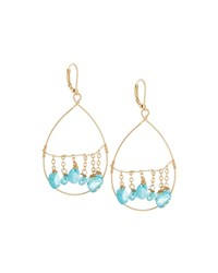 Fragments For Neiman Marcus Fragments Golden Dangling Briolette Wire Teardrop Earrings Blue
