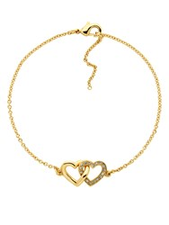 Melissa Odabash Gold Crystal Double Heart Bracelet Gold