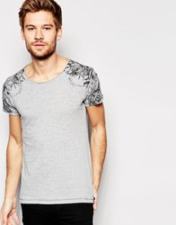 Replay T Shirt Crew Neck Shoulder Tattoo Print In Grey Melange Grey Melange