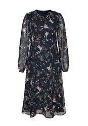 Hallhuber Midi Dress With Scattered Floral Print Multi Coloured