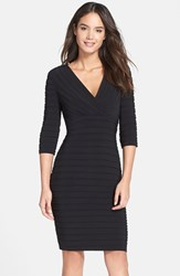 Women's Adrianna Papell Pleated Jersey Sheath Dress Black