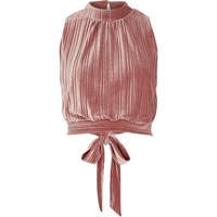 River Island Womens Pink Pleated Velvet Crop Top