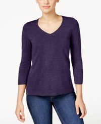 Karen Scott Petite V Neck Sweater Only At Macy's Purple Dynasty