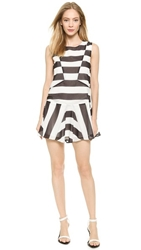 J.O.A. Patchwork Stripe Dress Black White