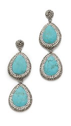 Native Gem Two Tier Earrings Silver Turquoise