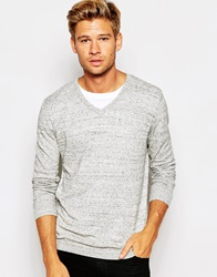 Asos V Neck Jumper In Cotton Greynep